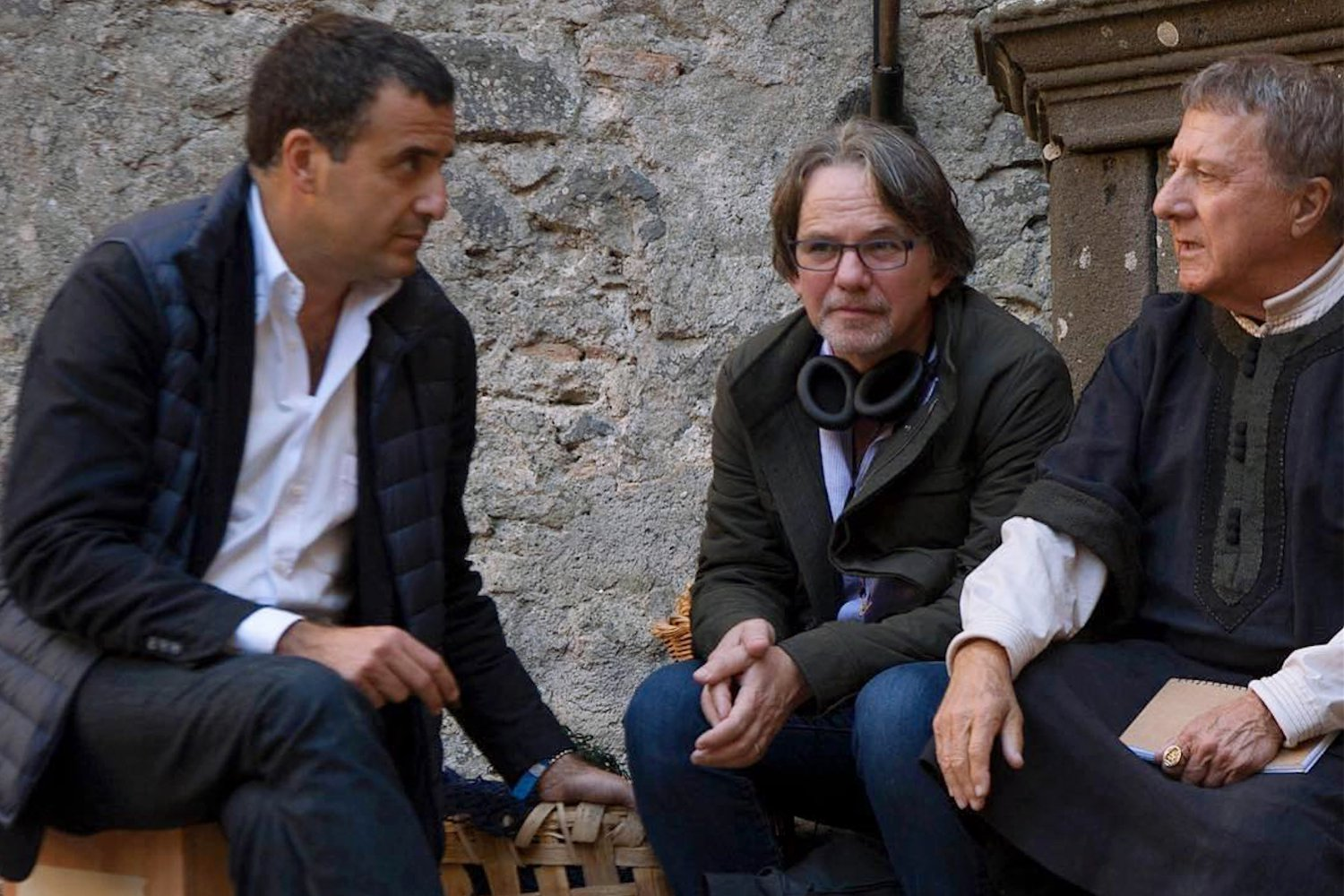 Frank Spotnitz and Dustin Hoffman on set filming Medici: Masters of Florence